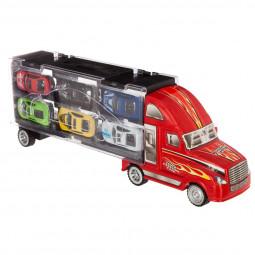 Camion remorque avec 6 Voitures de courses