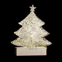 Sujet de Noël lumineux Sapin en métal LED blanc chaud H 14.5 cm