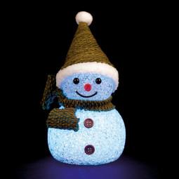 Sujet de Noël lumineux Bonhomme de neige LED à variation de couleur H 13.5 cm