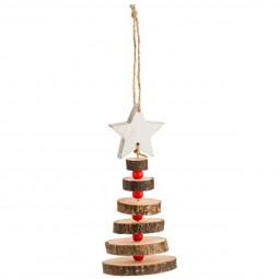 Décoration Suspension de Noël Forme Sapin en rondins et perles H 27 cm Comptoir de Noël