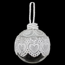 Décoration de sapin Boule de noël en verre deco dentelle D 7 cm Sarah B.