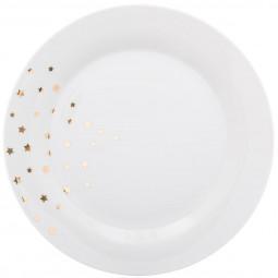 Lot de 6 assiettes plates star gold D27