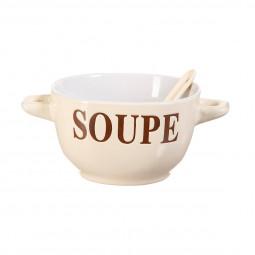 Bol à soupe + cuillère gris 40cl