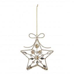 Décoration Suspension Sujet de Noël Forme en métal filaire avec perles L 26 cm collection Sarah B.