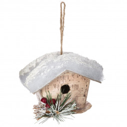 Décoration Sujet de Noël Mangeoire en bois avec toit enneigé H 8.9 cm A l'orée des bois