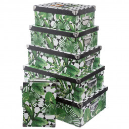 Lot de 6 boîtes coins métal effet jungle
