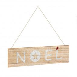Décoration de Noël Pancarte  en bois à suspendre 30 x 8 cm Comptoir de Noël