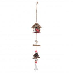 Décoration Suspension Sujet de Noël Maison en bois avec deco H 30 cm Comptoir de Noël