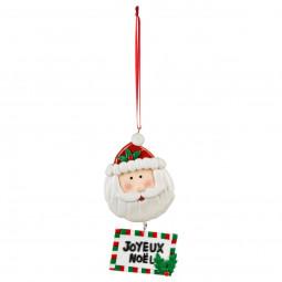 Décoration Sujet de Noël Père Noël avec pancarte H 12 cm Comptoir de Noël