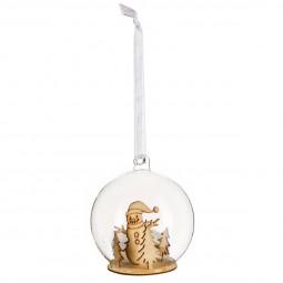 Décoration de sapin Boule de noël en verre avec sujet D 8 cm A l'orée des bois