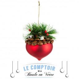 Décoration de sapin Boule de noël en verre décor branche H 11 cm Comptoir de Noël