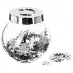 "Confettis brillants argents en bocal ""colorama de noël"""