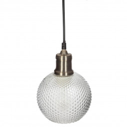 Suspension boule verre strié vent D15