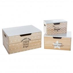 Lot de 3 boîtes rangement en bois