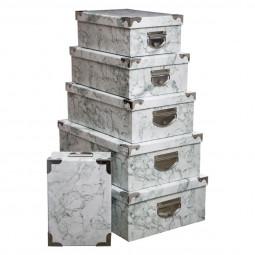 Lot de 6 boîtes coins métal effet marbre