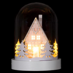 Décoration Intérieur lumineuse Dôme avec déco et LED H 22 cm
