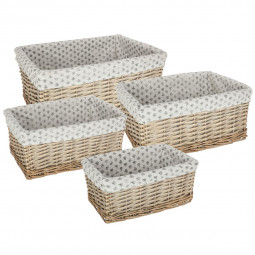 Lot de 4 paniers rectangles osier vent