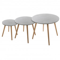 Lot de 3 tables à café effet ciment Mileo