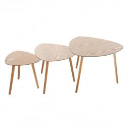 Lot de 3 tables à café bois Mileo