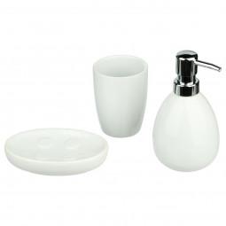 Lot de 3 accessoires salle de bain sun blanc