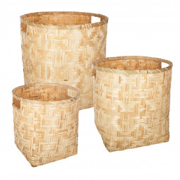 Lot de 3 paniers ronds bambou naturel