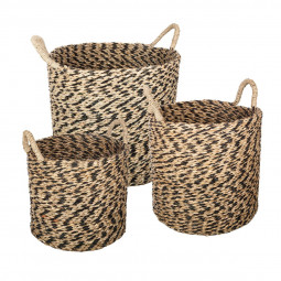 Lot de 3 paniers ronds seagrass etnik