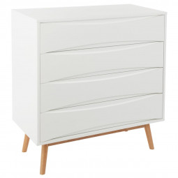 Commode blanche 4 tiroirs Aban