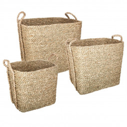 Lot de 3 paniers seagrass rectangles naturel