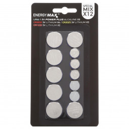 Lot de 12 piles bouton assorties