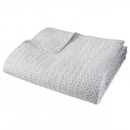 Dessus de lit coton fleur gris 220X240