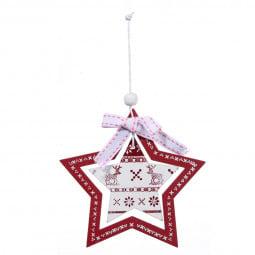 Décoration Sujet de Noël Forme double en bois imprimé H 10 cm Comptoir de Noël