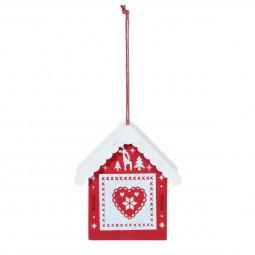 Décoration Sujet de Noël Maison en bois imprimé scandinave H 8 cm Comptoir de Noël