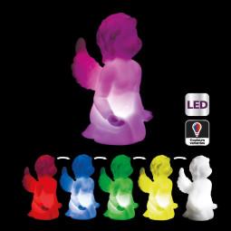 Sujet de Noël lumineux Ange LED à variation de couleur H 10.5 cm