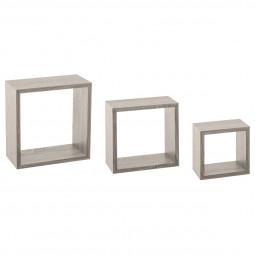 Lot de 3 étagères murales cubes chêne gris