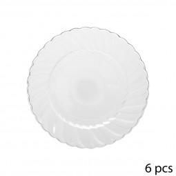 Lot de 6 assiettes plastique rondes design 18CM