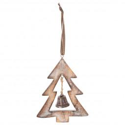 Décoration Sujet de Noël Forme en bois et métal D 11 cm A l'orée des bois