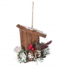 Décoration Sujet de Noël Mangeoire en bois avec Oiseau H 10 cm  A l'orée des bois