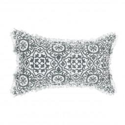 Coussin arabesque gris en lin 30X50