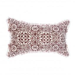 Coussin arabesque rouge en lin 30 x 50 cm