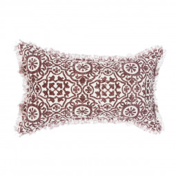 Coussin arabesque rouge en lin 30X50