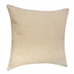 Coussin déhoussable jacquard chenille géométrique 40 x 40 cm coloris Lin