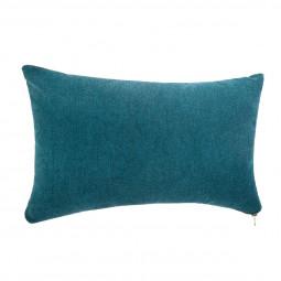 Coussin bleu zippé 30 x 50 cm