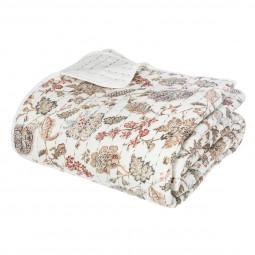 Dessus de lit blanc fleurs 220X240
