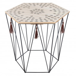 Table de café octogonale métal etnik Kumi