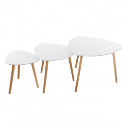 Lot de 3 tables à café Mileo blanches