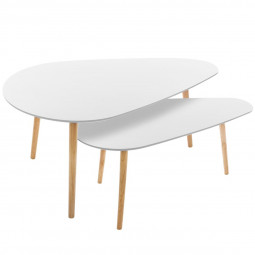 Lot de 2 tables de café blanches Mileo