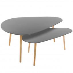 Lot de 2 grandes tables à café grises Miléo