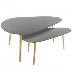 Lot de 2 tables de café grises Mileo