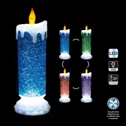 Décoration Intérieur lumineuse Bougie chandelle LED à couleurs changeantes et paillettes H 26 cm
