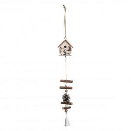 Décoration Suspension Sujet de Noël Maison en bois avec deco H 30 cm  A l'orée des bois